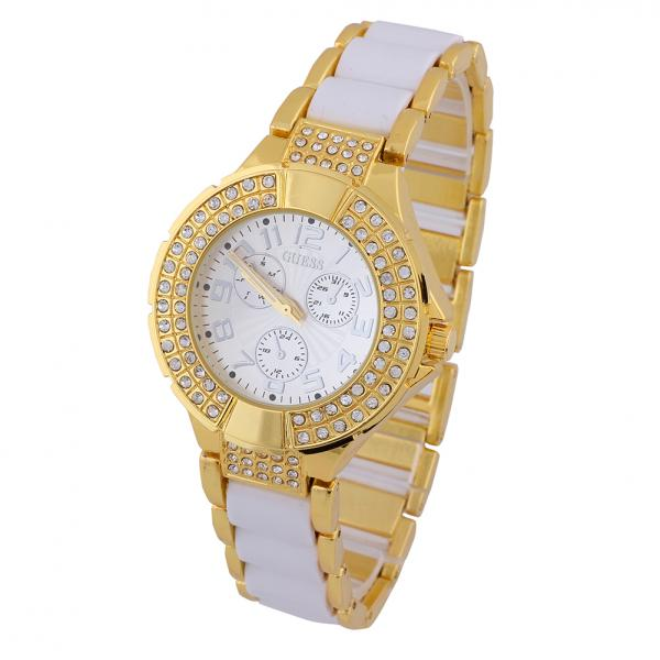 4dab1aa48 White Color Luxury Fashion Ceramic Band Gold Women Girl Watch Diamond Bling  Vintage Bracelet Quartz Wrist Watch
