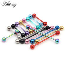 Alisouy 1 Pc Stainless Steel Industrial Piercing Ear Cartilage Stud Earring Barbell Straight Ear Piercings Barbell Jewelry(China)
