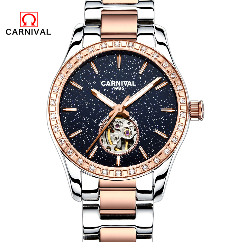 купить 2018Carnival Luxury Women Watches Sapphire Star Waterproof Watch Woman Luminous Automatic Mechanical Watch Relogio Feminino по цене 7770.07 рублей