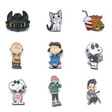 V116 Cartoon the Dog Cute Metal Enamel Pins and Brooches Fashion Lapel Pin Backpack Bags Badge Collection Gifts