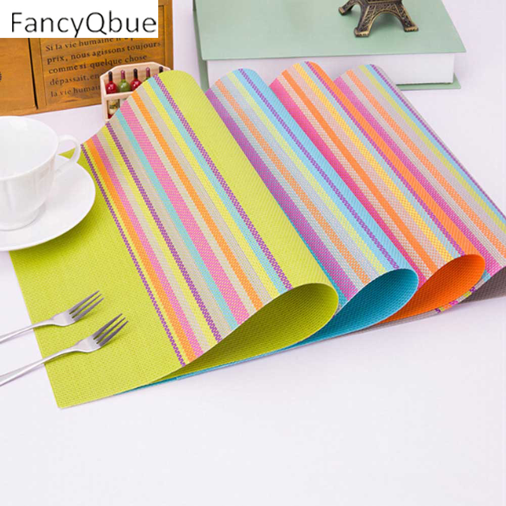 Dining table mats designs - 1 Pc Rainbow Color Table Mat Pvc Placemat Bar Mat Pads Home Kitchen Table Accessories Dining