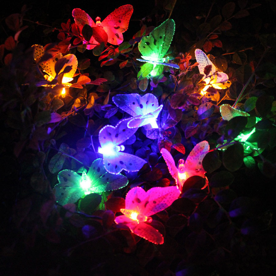 Solar patio lights - Thrisdar 4m 12leds Butterfly Solar Garden Fairy String Garland Outdoor Fiber Optic Solar Patio Garland Christmas