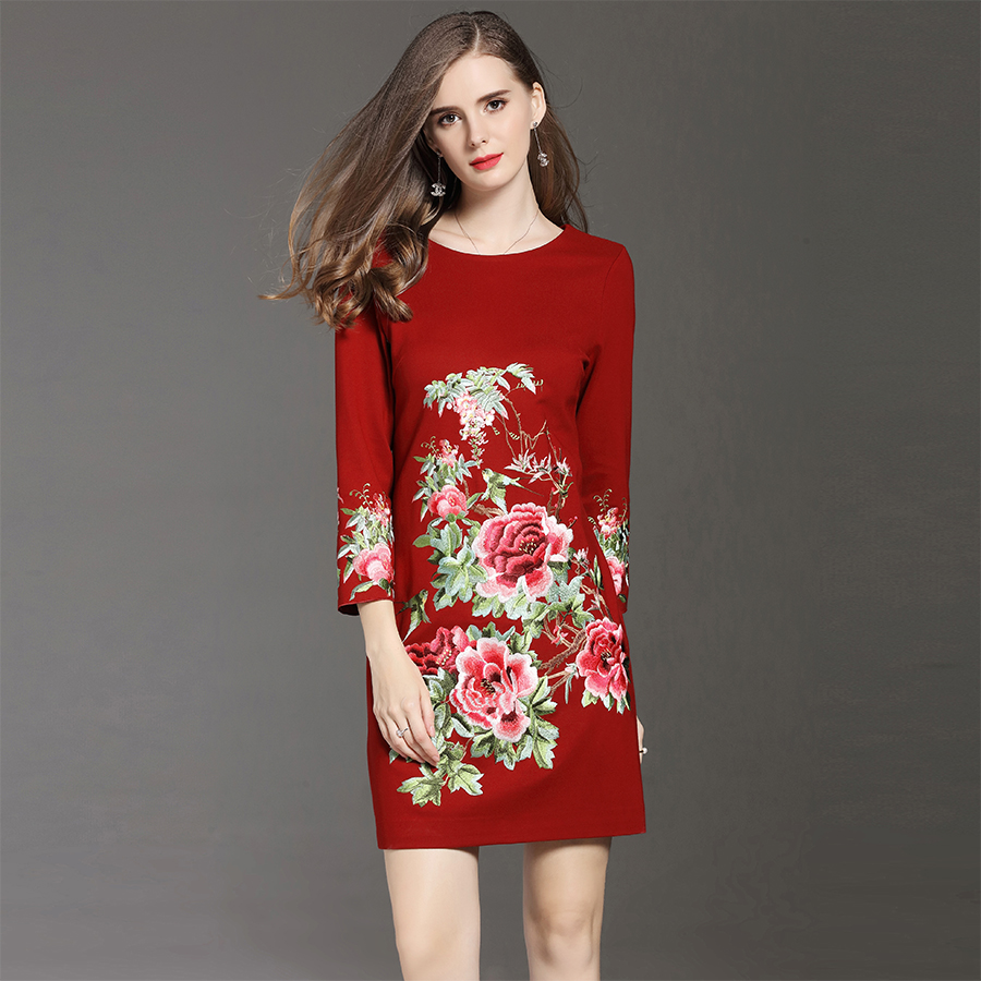 2017 New Women Autumn Winter Floral Embroidery Mini Dress High Quality Elegant O Neck Female Slim