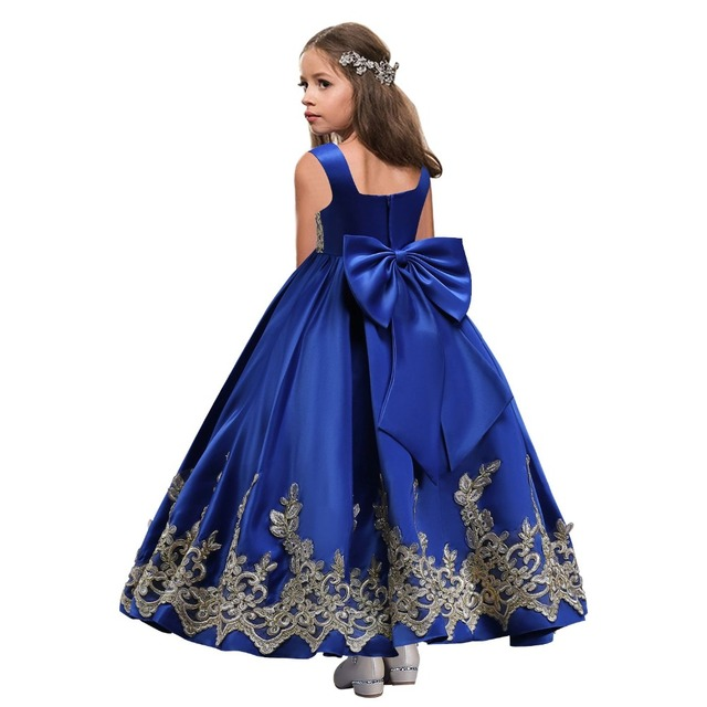 Babyonline Ouro Appliqued Longo Da Menina de Flor Vestidos de 2019 Big Bow Primeira Comunhão Vestidos Meninas Pageant Vestido Crianças Vestido de Baile