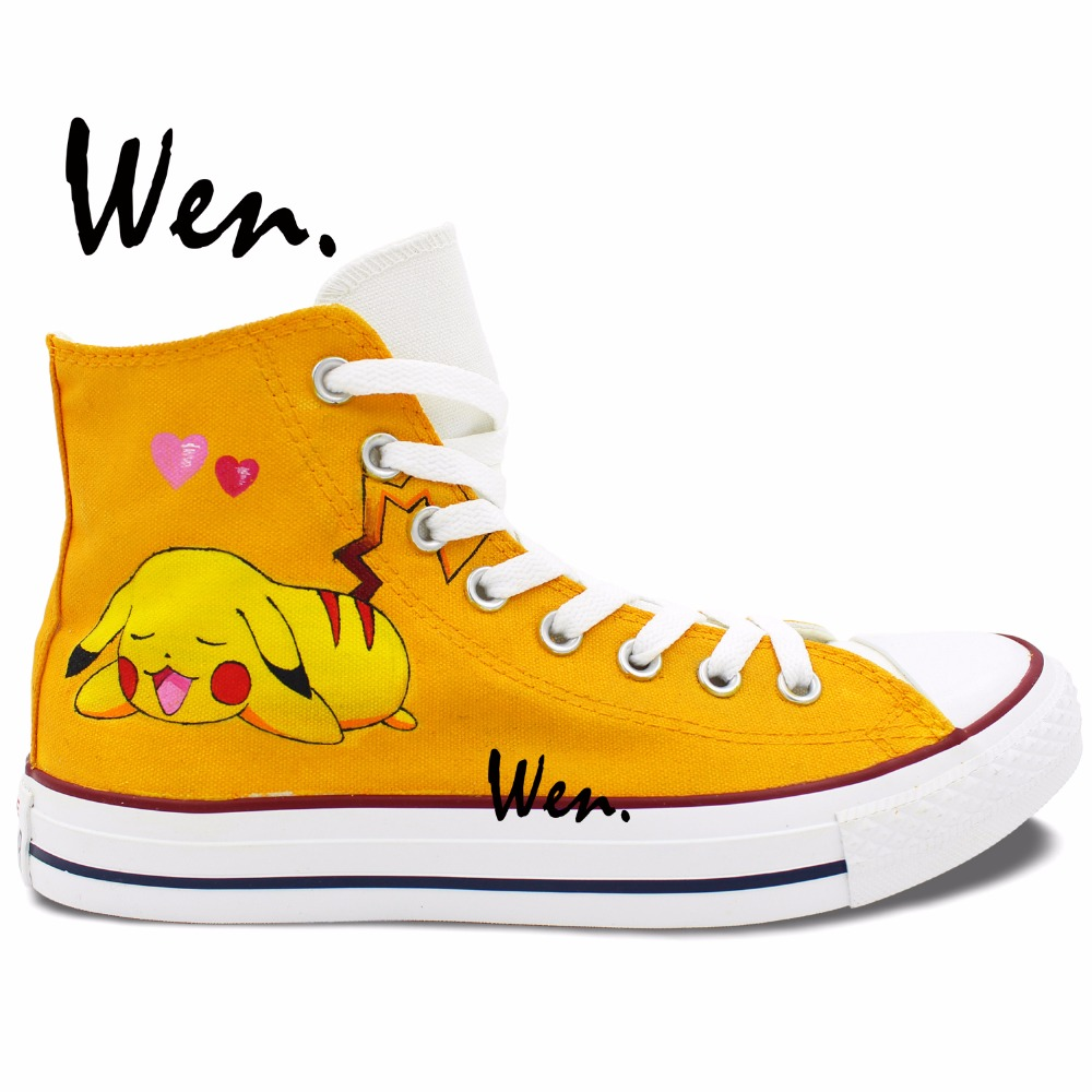 Wen Hand Painted Shoes Yellow Anime Shoes Custom Design Pokemon Pikachu Pocket Monster High Top Men Women's Canvas Sneakers hot sale anime pikachu pocket monster colorful folding wallet pikachu high quality short pu purse