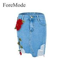 Foremode Для женщин Вышивка цветок Джинсовые юбки женские летние узкие джинсы юбка цветок Шорты для женщин