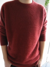 Men's fashion sable woollen sweater pure color cashmere round collar sweater 034