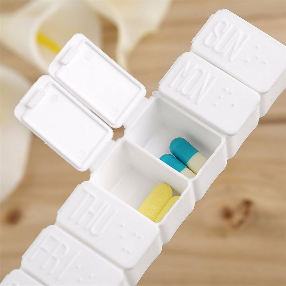 2019 Mode 7-tag Wöchentlich Medizin Tablet Pill Organizer Box Fall Tragbare Reise Zubehör Mit Deckel Medizinische Kit Lagerung Container