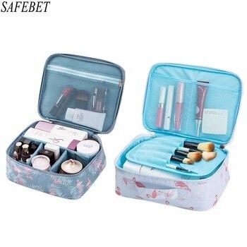 SAFEBET Brand Flamingo Women Cosmetic Bag Organizer Toiletry Kits Necessity Travel  Big capacity Waterproof Portable Makeup Bag