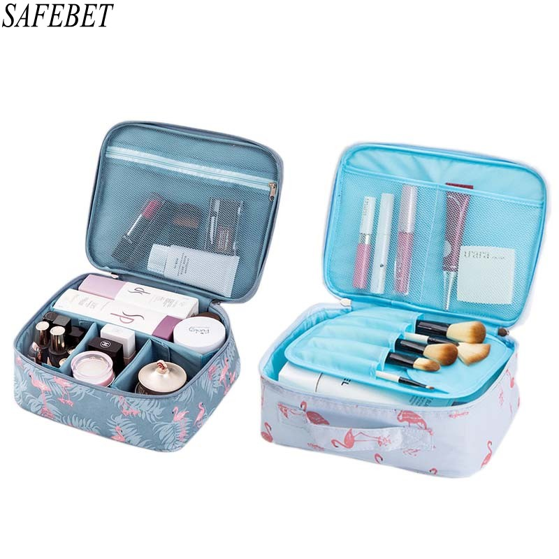 SAFEBET Brand Flamingo Women Cosmetic Bag Organizer Toiletry Kits Necessity Travel  Big Capacity Waterproof Portable Makeup Bag