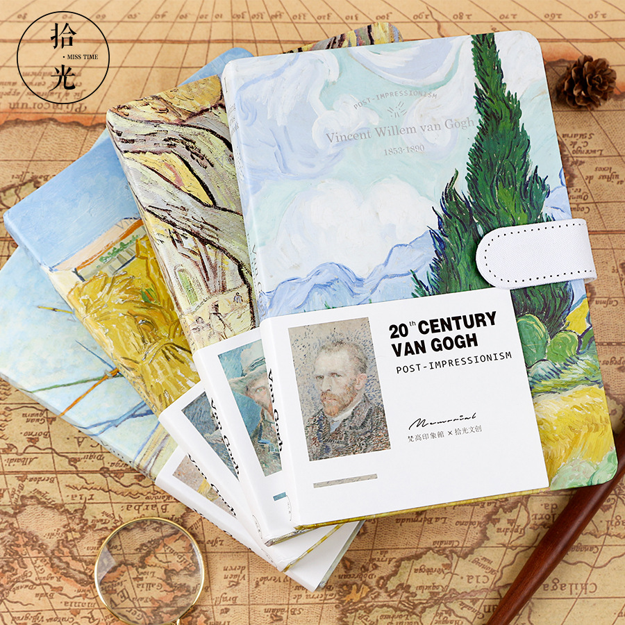 A5 Van Gogh Blank Lined Grid Paper Writing Totoro Notebook Book Journal Travel Diary With Lock Leather Graduation Gift
