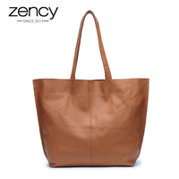Famous Brand Zency 100 Soft Genuine Leather Fashion Women Shoulder Bag Large Capacity Casual Tote Bags