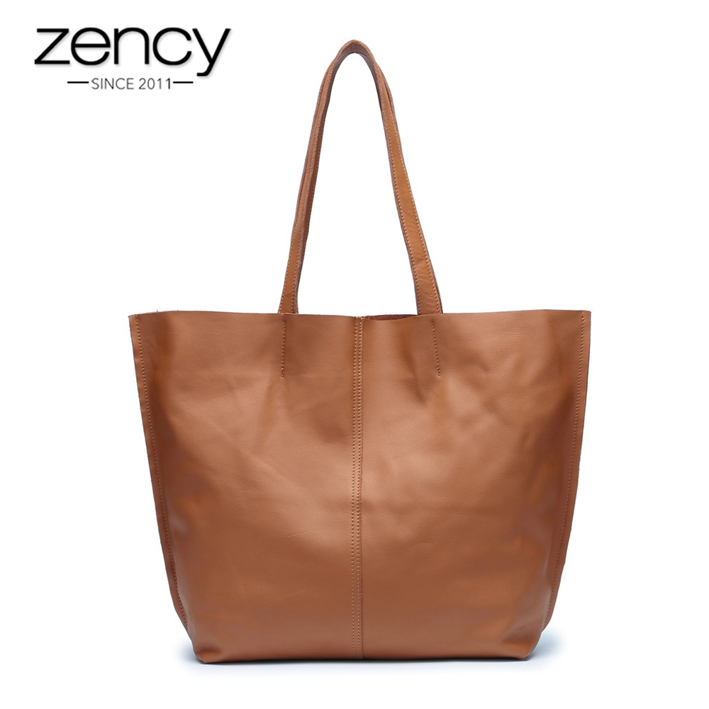 Famous Brand Zency 100% Soft Genuine Leather Fashion Women Shoulder Bag Large Capacity Casual Tote Bags Excellent Quality famous brand bag 100