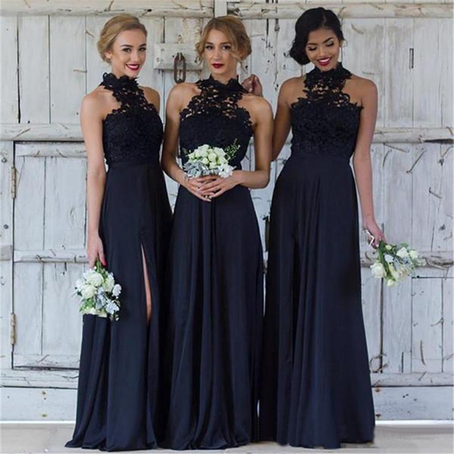 Haute qualité noir longue robes de demoiselle d'honneur haute Split une ligne longueur de plancher Appliques pas cher robes de mariée 2019 livraison rapide