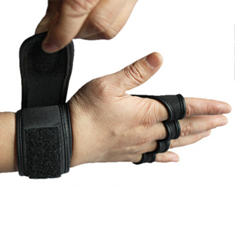 Full finger weight lifting gloves wrist support black gym workout REX389