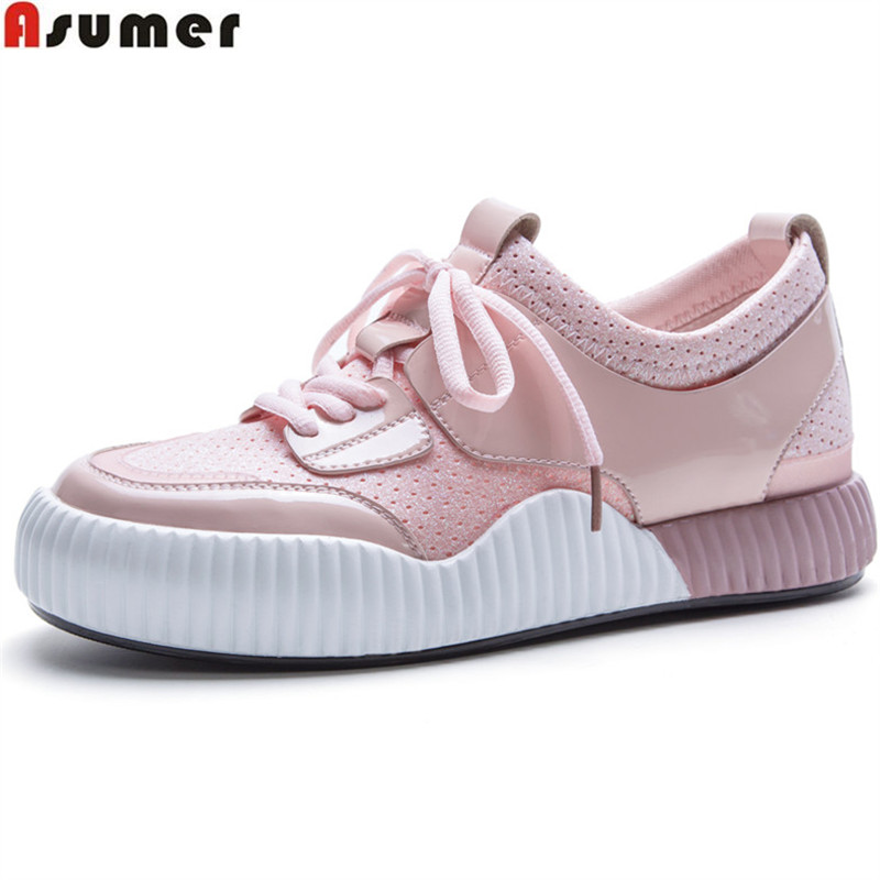 ASUMER black pink fashion 2018 new spring autumn flat shoes woman round toe casual lace up women genuine leather flats sneakers asumer black fashion spring autumn ladies shoes round toe lace up casual women flock cow leather shoes flats