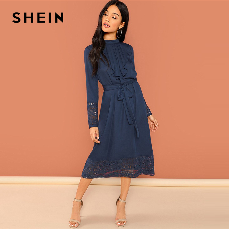 SHEIN Navy Going Out Weekend Casual Pleated Ruffle Trim Lace Trim Dress 2018 Autumn Long Sleeve Elegant Dress Women Dresses