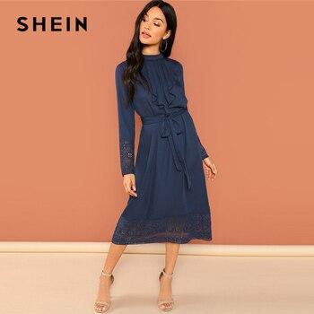 SHEIN marine sortie week-end décontracté plissé à volants garniture dentelle robe moulante 2018 automne à manches longues robe élégante femmes robes