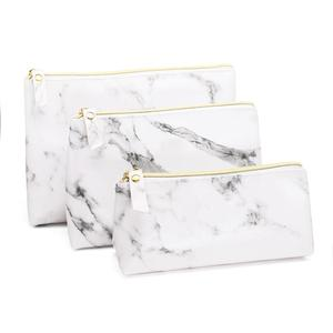 Image 1 - PU Leather Cosmetic Bag Make Up Marble Portable Ladies Travel Case Makeup Brush Organizer Storage Pouch Culture Wash Kit Bags