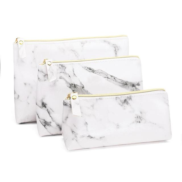 PU Leather Cosmetic Bag Make Up Marble Portable Ladies Travel Case Makeup Brush Organizer Storage Pouch Culture Wash Kit Bags