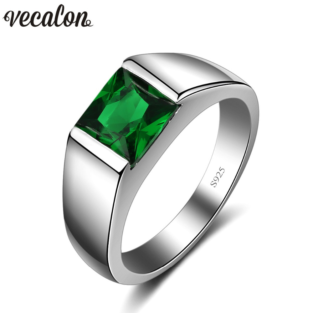 Vecalon Fine Green Birthstone Men rings Princess cut 3ct 5A Zircon Cz 925 sterling silver Engagement wedding Band ring for men vecalon real 925 sterling silver infinity ring 5a zircon cz diamon engagement wedding band rings for women bridesmaid gift