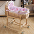 Cradle bed crib crib baby bed solid wood car - carrying basket portable cottage rattan baby blue belt roller