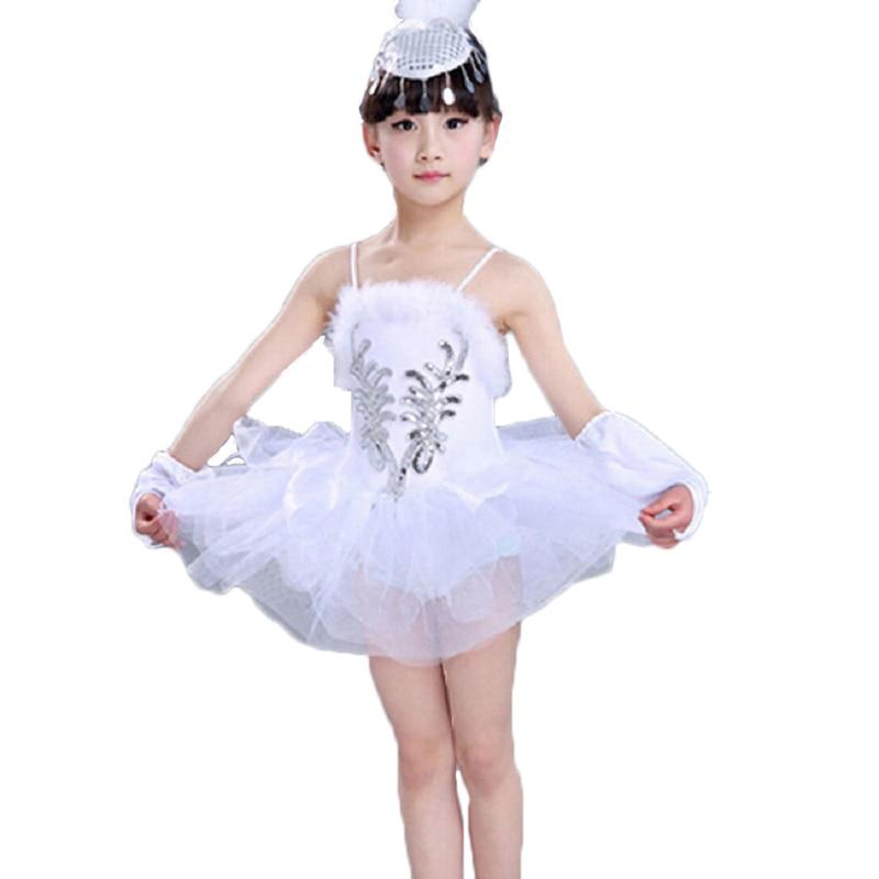 White Swan Girl Dance Dress Classical Lolita Dress Classical Ballet Tutu Dancewear Girls Stage Performance Costumes Ballet Dress dora the explorer little girls ballet dance pajama set