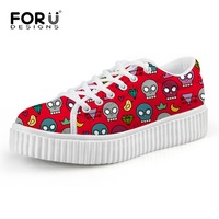 FORUDESIGNS Women Flat Platform Shoes Cartoon Skull Printed Woman Creeper Shoes Mesh Breathable Shoes Adult Casual Female Sapato