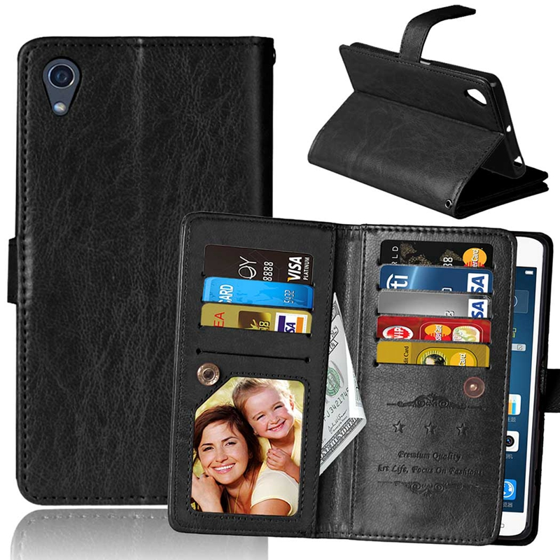 Shenzhen Inpet Technology Co., LTD Retro 9 Card Holder PU Leather Case For Sony Xperia X F5121 Wallet Cover Xperia X Dual Sim F5122 Magnet Cases Phone Pouch Pocket