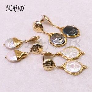 Image 1 - 5 пар серьги из пресноводного жемчуга Серьги из жемчуга оптовая продажа ювелирных изделий Модные ювелирные изделия для женщин подарок 9204