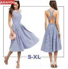 Women New Arrival Sexy Midi Dresses  Summer Blue Striped Square Neck Sleeveless Crisscross Back A Line Dress AIDAYOU ouc728