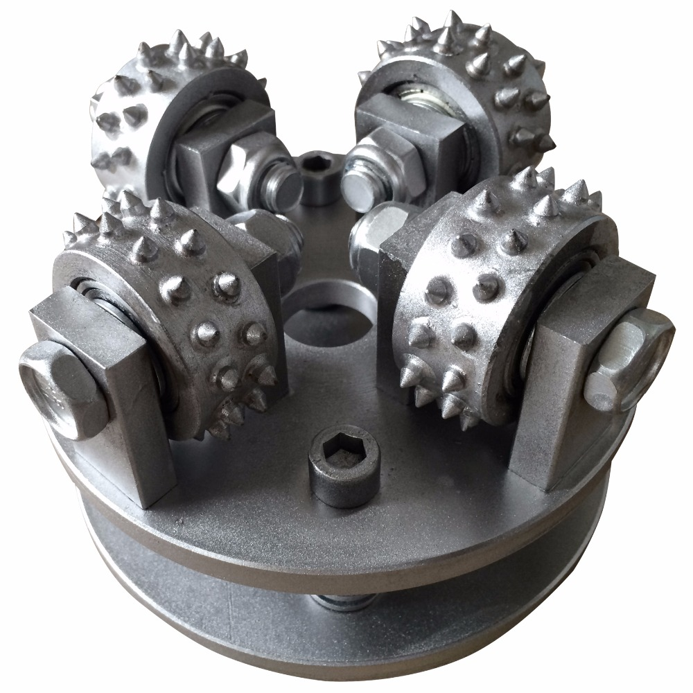 Customization 150mm Circle Bush Hammer Wheel Plate Litchi Surface Alloy Disk with 4 Bits for Hammered
