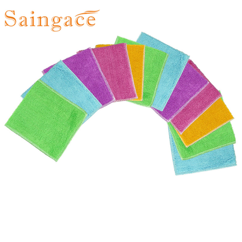 12 Pcs New Arrival Kitchen Cleaner Wipping Rags Efficient Bamboo Fiber  Cleaning Cloth Home Washing Dish