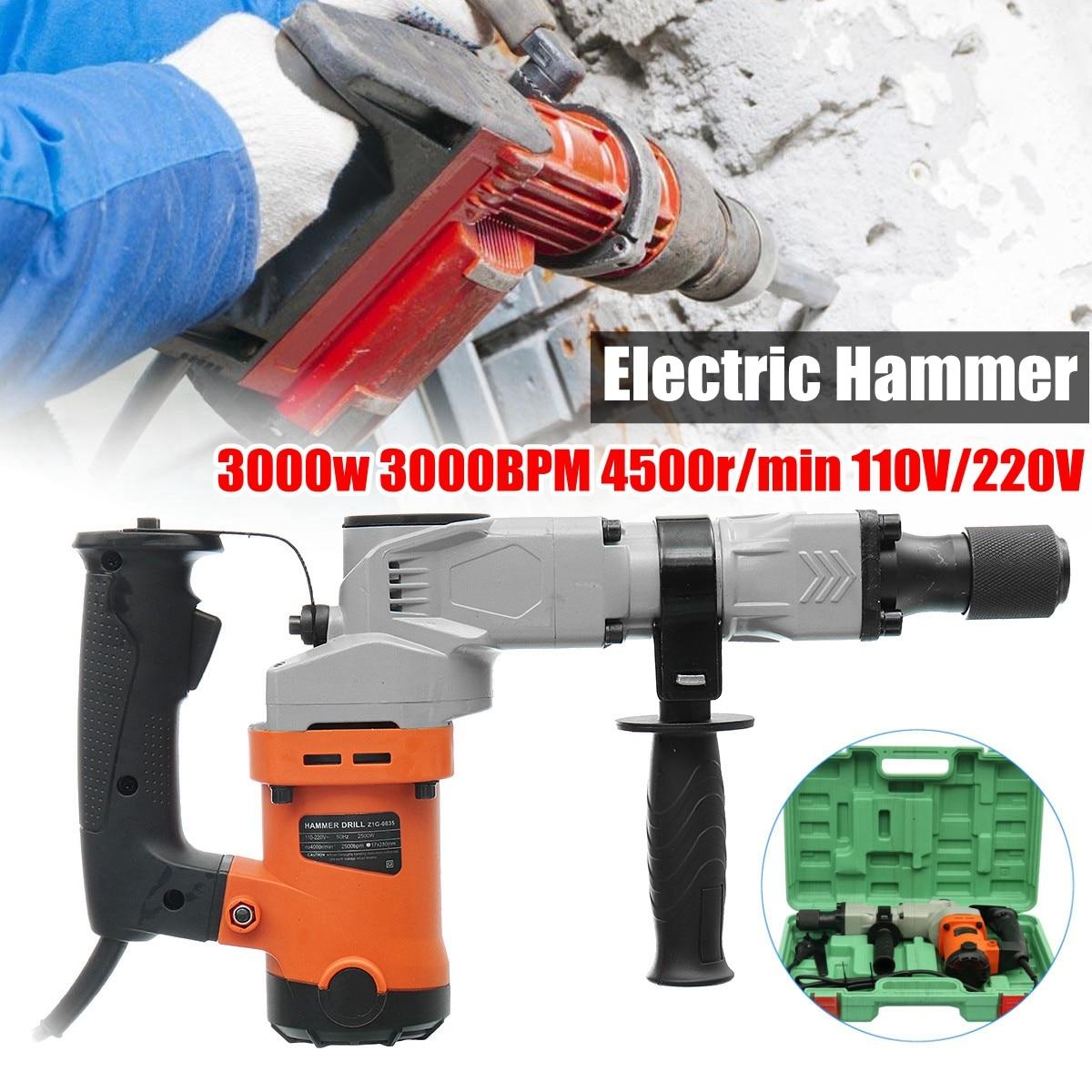 220 v Trapani Elettrici 3000 w Elettrico Demolition Hammer Drill Calcestruzzo Breaker Pugno Jackhammer 3000BPM