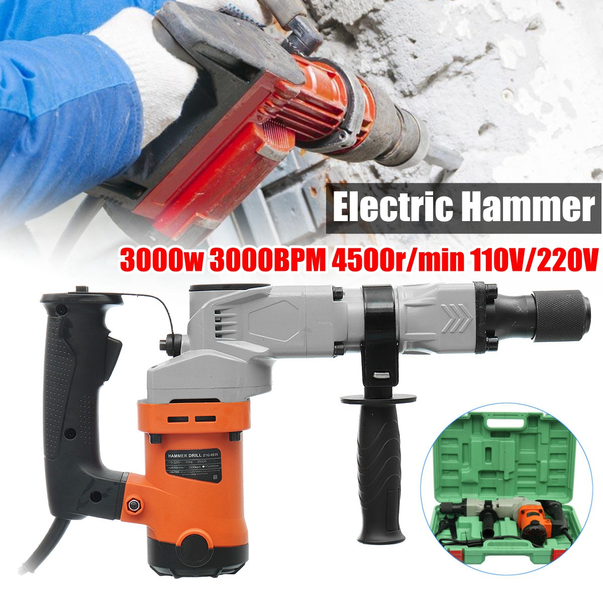лучшая цена 220V Electric Drills 3000W Electric Demolition Hammer Drill Concrete Breaker Punch Jackhammer 3000BPM