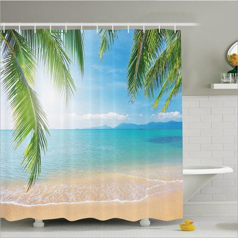 Ocean Decor Bathroom: 2017 Custom Bath Curtain Beach Summer Ocean Sky Sea Nature