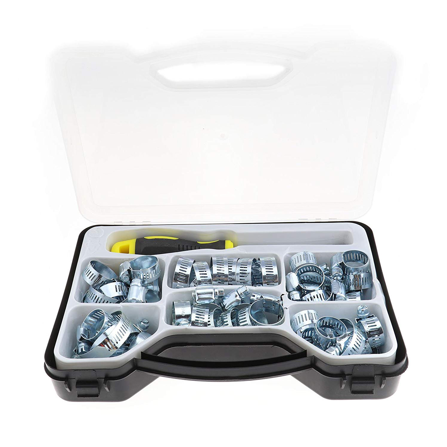 51Pcs Jubilee Clip Hose Clamp Assorted Carbon Steel Set Tool HEX DRIVER Box Kit 9pc hose clamp clip plier set swivel jaw flat angled band automotive tool hose clamp clip remover pliers tool set kit