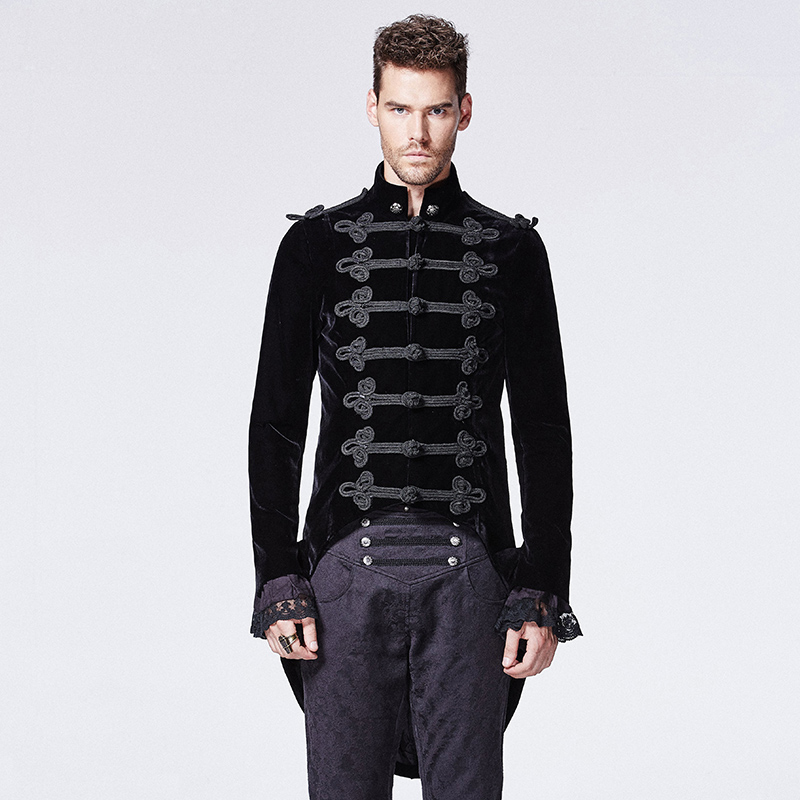 Gentlemen Mens Long Coat Steampunk Stand Collar Swallow Tail Coat Long Sleeve Party Halloween Costumes