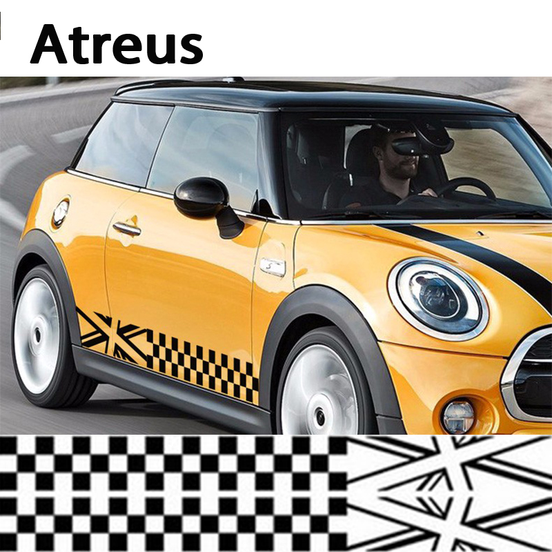 Atreus 2pcs Car Styling Door Side Stickers For Bmw Mini Cooper R56 R50 R53 F56 F55 R60 R57 Mercedes Smart Covers Accessories aliauto car styling side door sticker and decals accessories for mini cooper countryman r50 r52 r53 r58 r56