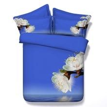 Blue Floral duvet set 3D Flower bedding bedspread bed in a bag sheet linen quilt designer bedset Cal King queen size 4PCS