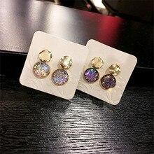 Korean Handmade Silver Needle Anti-allergy Shiny Crystal Round Drop Dangle Earrings Fashion Jewelry-BYD5