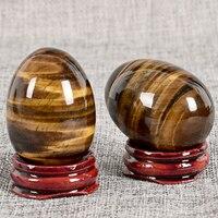 2pcs Yoni Eggs Undrilled 45x30mm Natural Tiger Eye Massager Stone Jade Egg For Kegel Exercise Ben Wa Sphere Vaginal Balls