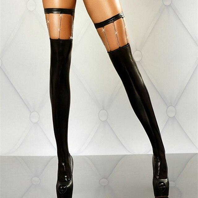 RK80057 Женская сексуальность искусственной кожи чулок сплошной черный с золотой цепью сексуальные чулки модные сексуальные девушки шелковые чулки