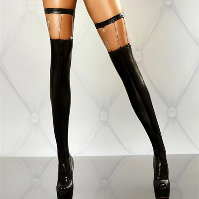 RK80057 lotação Das Mulheres sexy do falso couro preto sólido com corrente de ouro sexy meias moda sexy meias de seda meninas