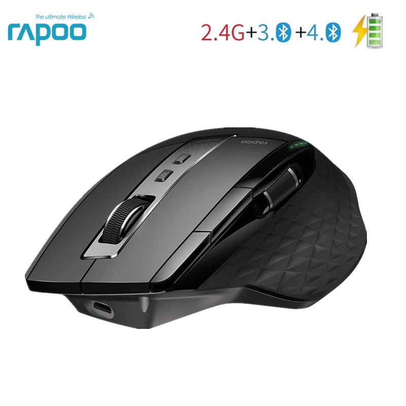 Rapoo MT750S Wireless Mouse Rechargeable Multi Mode Bluetooth Mouse for Business Office