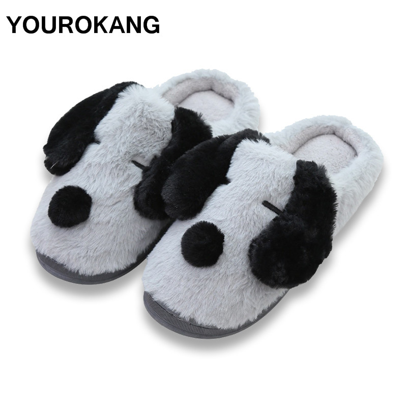 7ce8a180df2 YOUROKANG Cute Animal Couple Home Slippers Winter Warm Dog Plush House Shoes  Indoor Bedroom Soft Furry ...