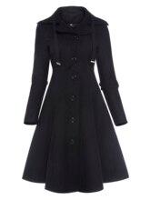 Vintacy Women Gothic Style Coat A Line Autumn Slim Warm Button Black Solid Outwear Jacket  Office Work Asymmetric
