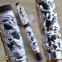 JINHAO WHITE AND GOLDEN DRAGON AND PHOENIX 18KGP M NIB FOUNTAIN PEN