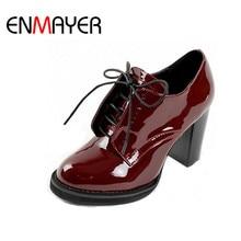 ENMAYER Fashion Women s Ankle Boots Lace Up Platform Women Boots for Women Wedding Shoes High