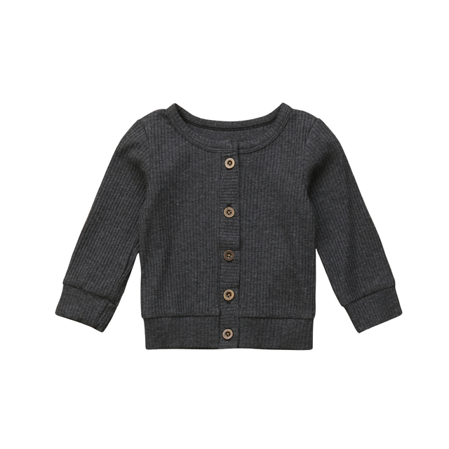 Newborn Infant Kids Baby Girls Clothes Button Knitted Sweater Cardigan Coat Tops